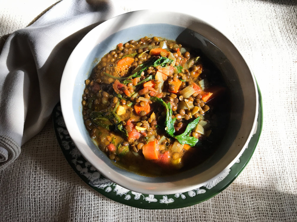 Green Lentil-Baby Kale Super-Warming Detox Soup