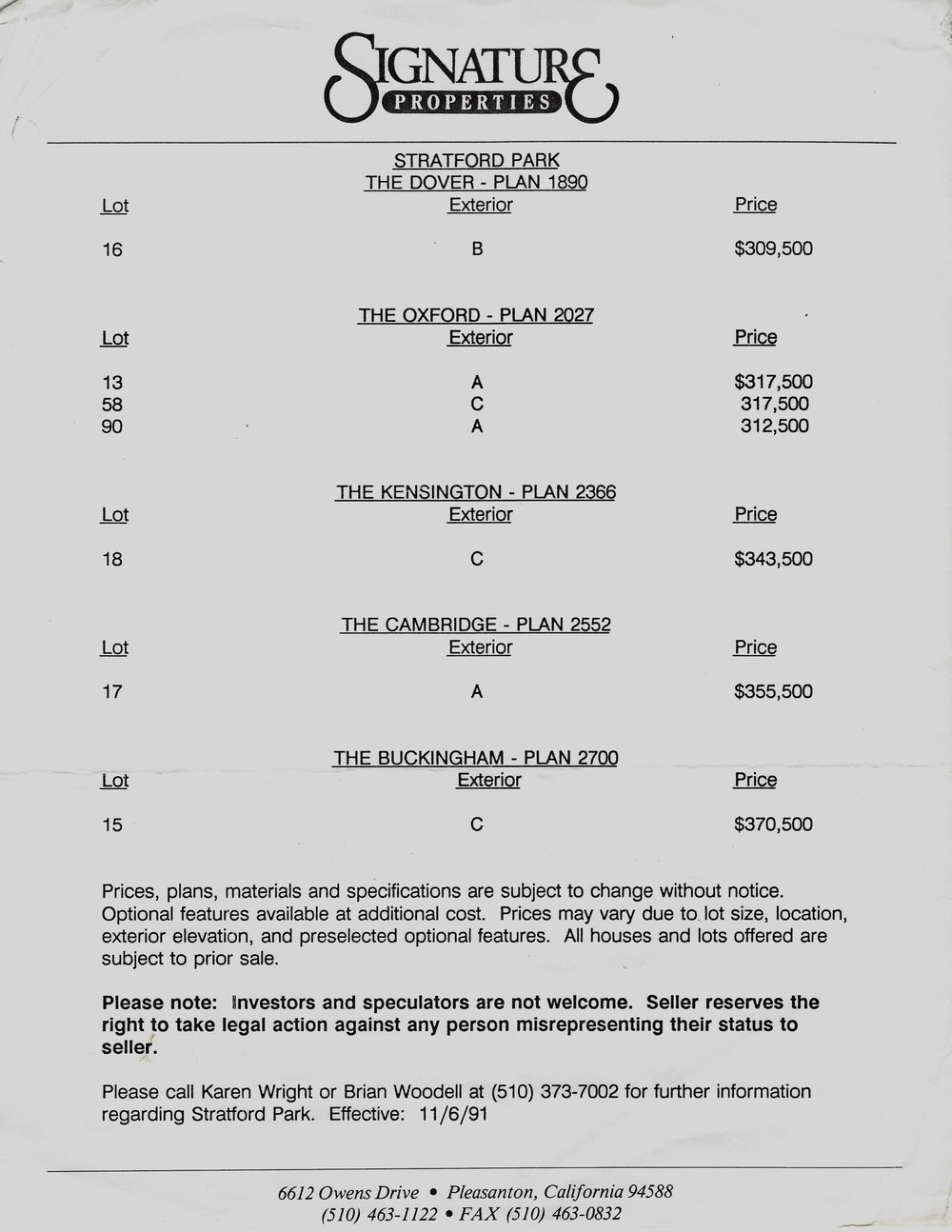 Original prices for Stratford Park homes in the early 1990s