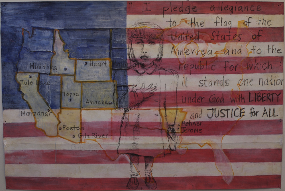 Liberty and Justice for All, oil, acrylic, charcoal on tar paper, 48 x 72