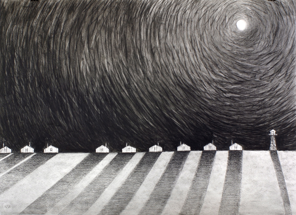 FDR's Moon, Too, charcoal on paper, 22 x 30