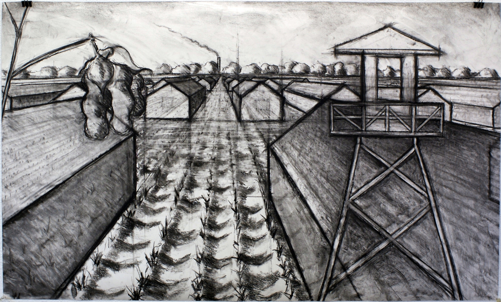 Camps Rising Out of the Fields, charcoal on paper, 24 x 40