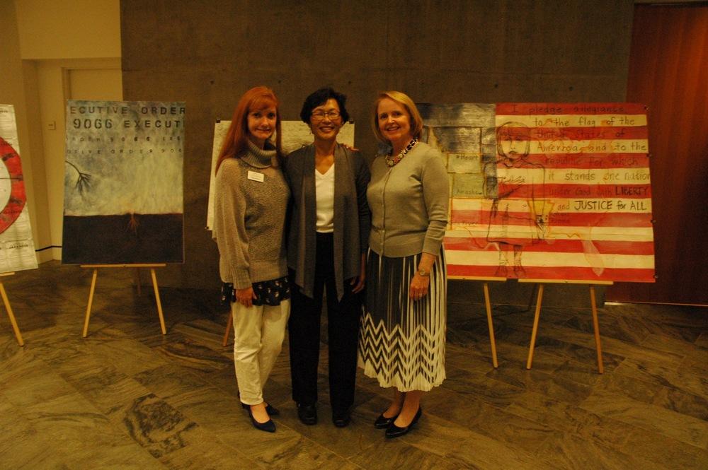Sue Segerlin, Nancy Chikaraishi and Gayle Seymour at Crystal Bridges Museum.