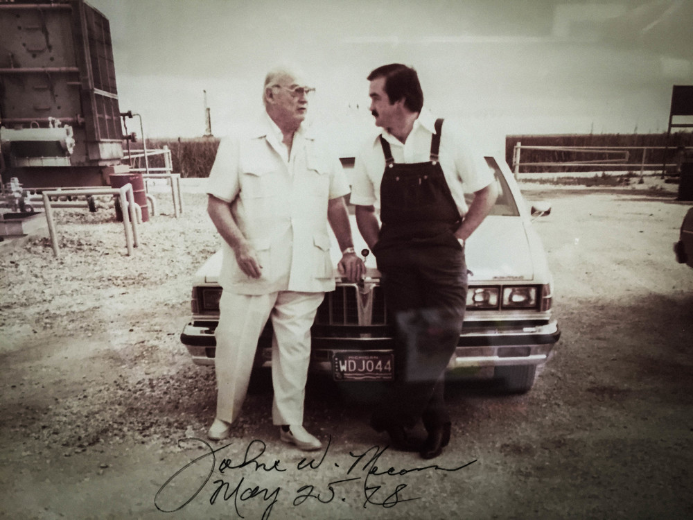 mike caswell with legendary oilman jOhn w. mecom