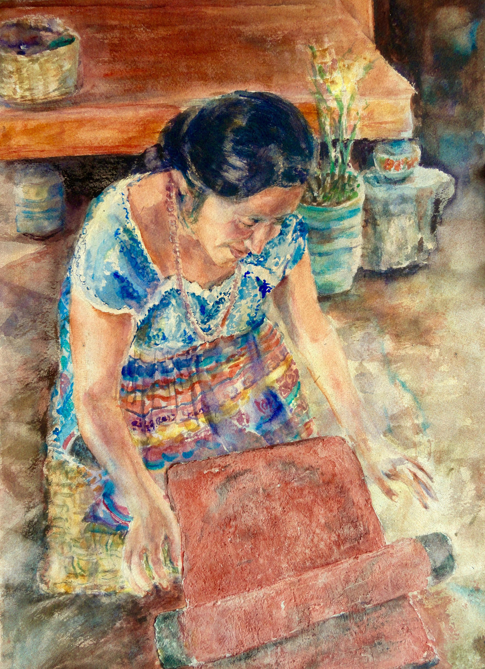 Guatemalan Woman Grinding Spices