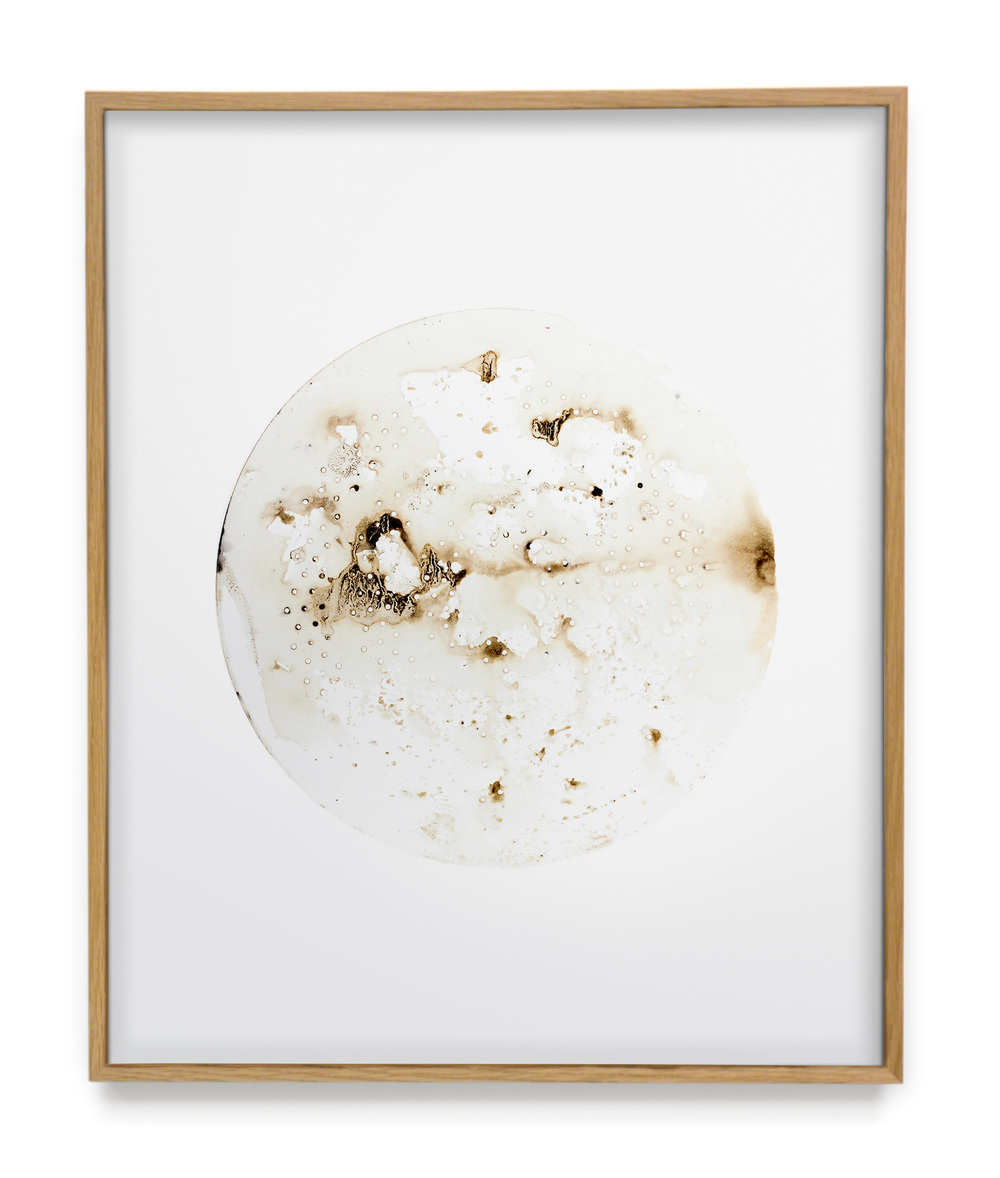 Untitled Fig.01 Metal oxide and tea water on bright white, 100% recyclable tree-free synthetic paper 2015