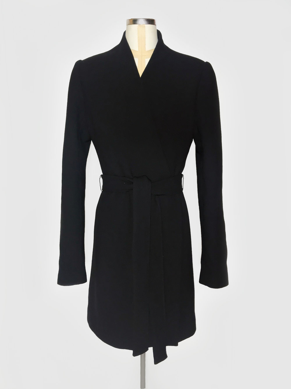 Wool coat with waist belt
