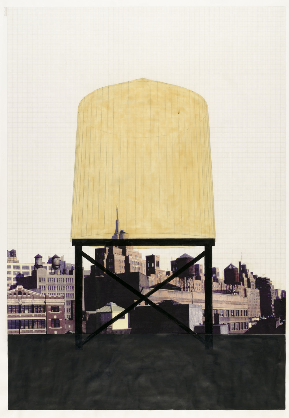 Rachel Whiteread Drawings Water Tower Collage