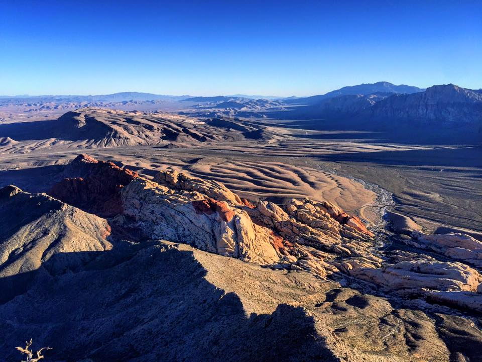 View from the top of Turtlehead Peak - a popular hike in Red Rock Canyon. The entire Blue Diamond Hill site is clearly visible, front and center from Red Rock Canyon Conservation Area.