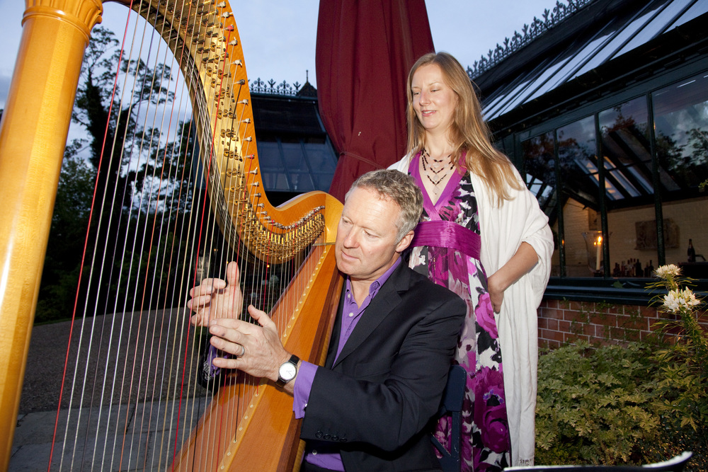 Rory Bremner trying harp.