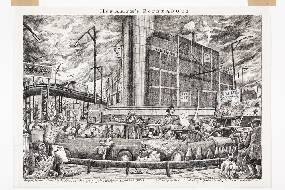 "Copy of Artwork by Martin Rowson ""Hogarth's Roundabout""."
