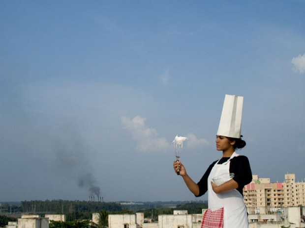 Smog Tasting (2011) uses egg foams to harvest air pollution. Smog from different locations can be tasted and compared.