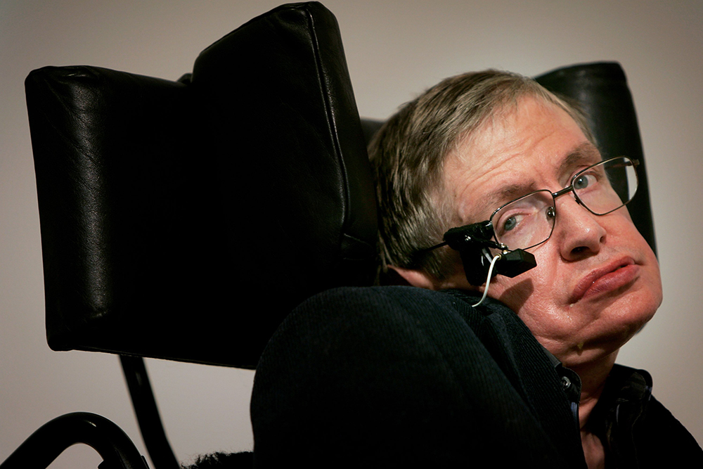 Stephen Hawking   A British theoretical physicist, cosmologist, and author. Hawking has researched gravitational singularity theorems in the framework of general relativity, the theoretical prediction that black holes emit radiation, and quantum mechanics. He was diagnosed at the age of 21 in 1963 and has a team of nurses that take care of him.  (image:  Bruno Vincent/Getty Images )