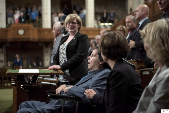 Mauril Belanger looks on as MPs sing the national anthem, following a vote on his private member's bill to make the national anthem more gender neutral, June 15, 2016.   (Photo: Justin Tang/The Canadian Press)