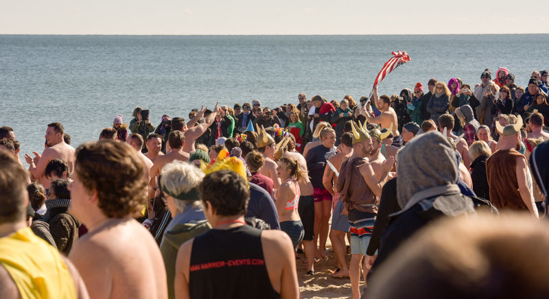 The 11th Annual Valentine Plunge Event for ALS was held at the Main Street beach in Manasquan, NJ, Saturday. Here, the crowd gathers near the water just prior to the start of the plunge.  Russ DeSantis | NJ Advance Media