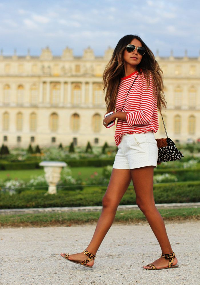 parisian street style, red striped shirt, white shorts