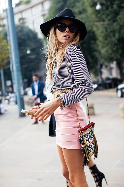 hat with striped shirt and pink skirt