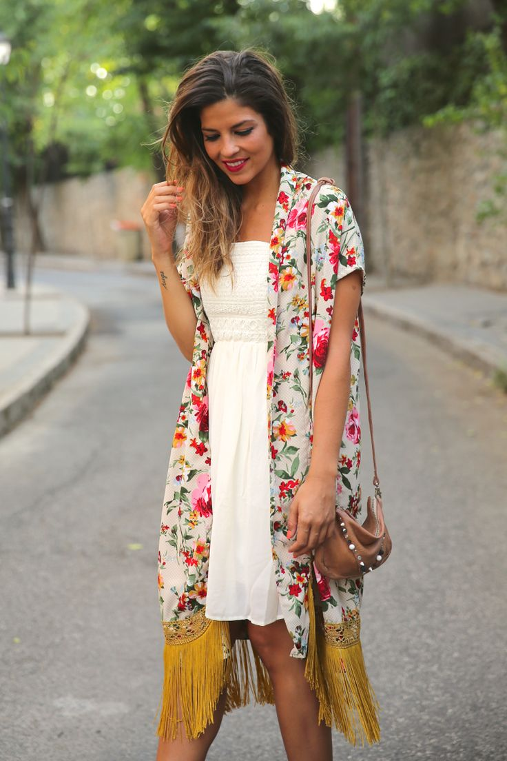 kimono print and dress