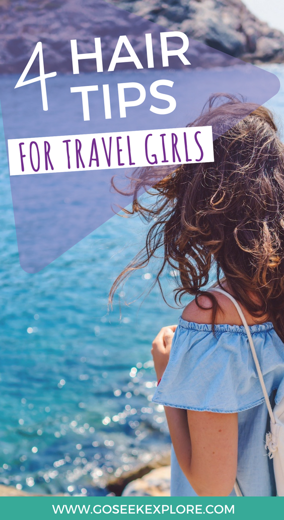 4 Awesome hair tips for travel girls! Tips for keeping your hair healthy and looking good while traveling, and what products + tools I pack when traveling! Super easy and helpful!