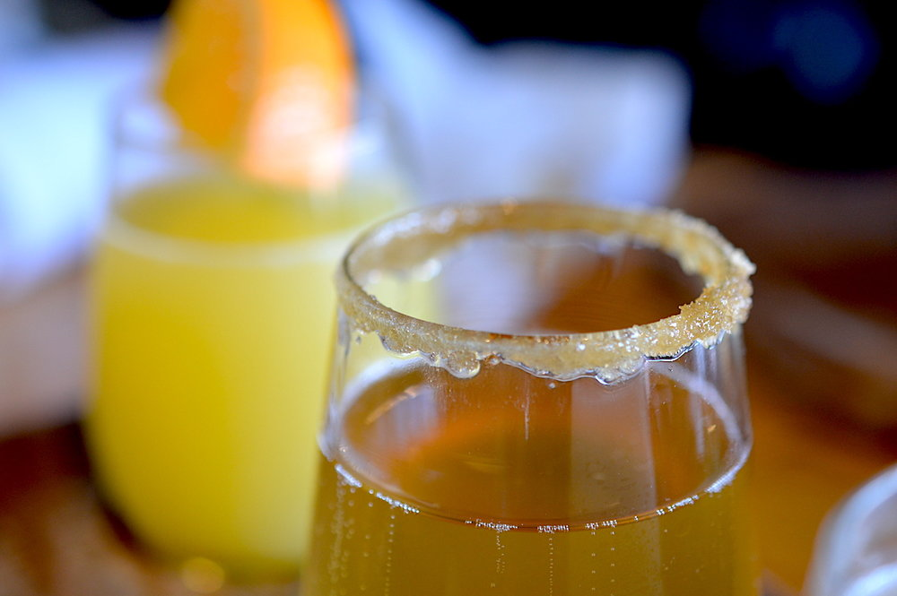 Look at that rim on the apple mimosa - it's like having dessert for breakfast!