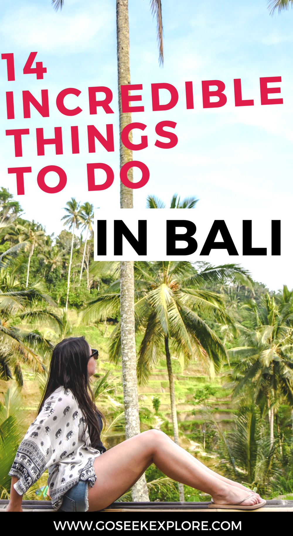 Planning a trip to Bali? This post lists 14 incredible things you must do on a trip to Bali! From the amazing rice terraces, to flower baths and spas, to temples and sunsets...there is an endless amount of things to do in Bali. Let this post help you get started!