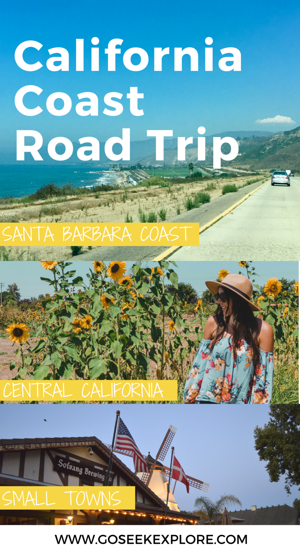 Road Tripping Central California - where to stop along the way! There are so many cute towns, wineries, and ocean views to see in California. Highly recommend traveling the California coast! Driving the California coast is out of this world. With spectacular ocean views, winding coastline, and landscapes changing from beach-y to desert to forest to wineland, there is so much to see and do as you explore the California coast.  I celebrated my birthday a couple of weeks ago, and one of the things I did to celebrate was take a road trip from Southern California up to Central California with my friend Jessica, driving from San Diego to San Luis Obispo!  ...All in one day.  We hit the PCH (Pacific Coast Highway) eaaaarly in the morning with the intention that we'd stop in Santa Barbara on the way back. It was a LOT of driving but still plenty of fun.  If you're looking to do a similar drive yourself I'd recommend spending the night up north to allow yourself more time for stops along the way.