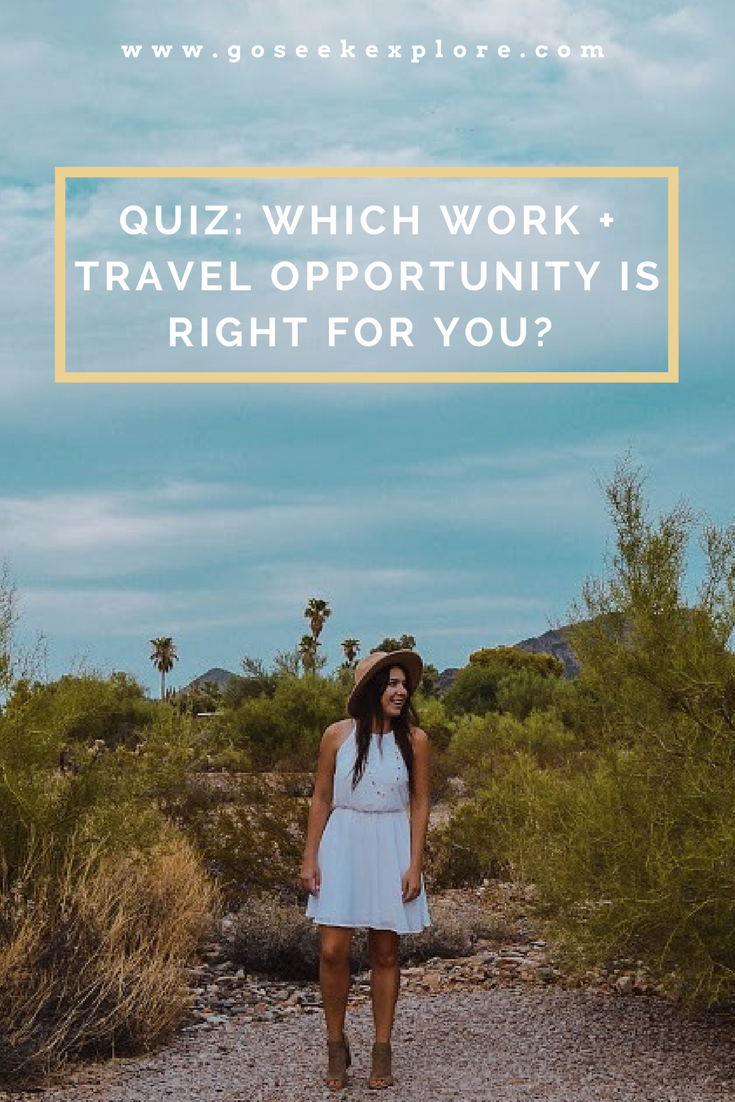 "QUIZ: Which Type of ""Work + Travel"" Opportunity is Right for You? // www.goseekexplore.com"