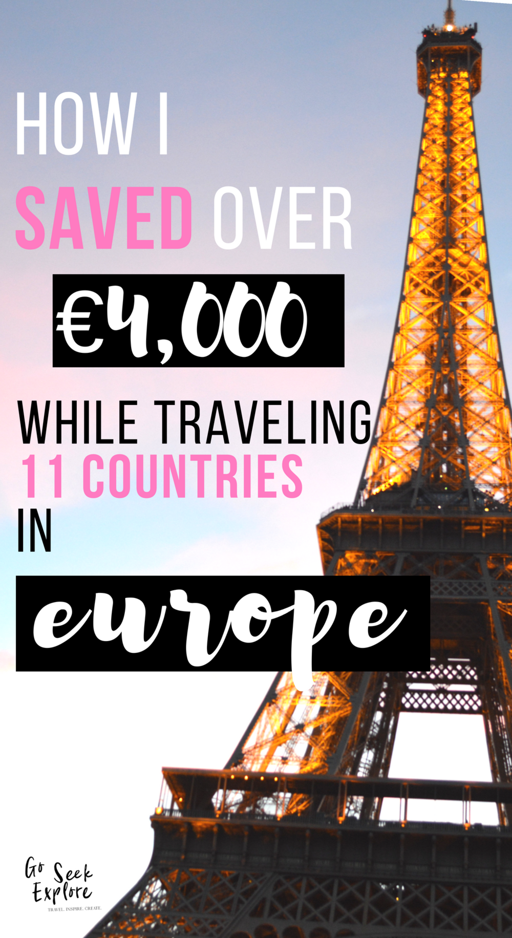 Exactly how I saved 4,000 euros while traveling 11 countries in Europe - and stretched my travel budget of only $1400 over 6 months! Real and raw advice on how much you should save for a trip to Europe on goseekexplore.com.