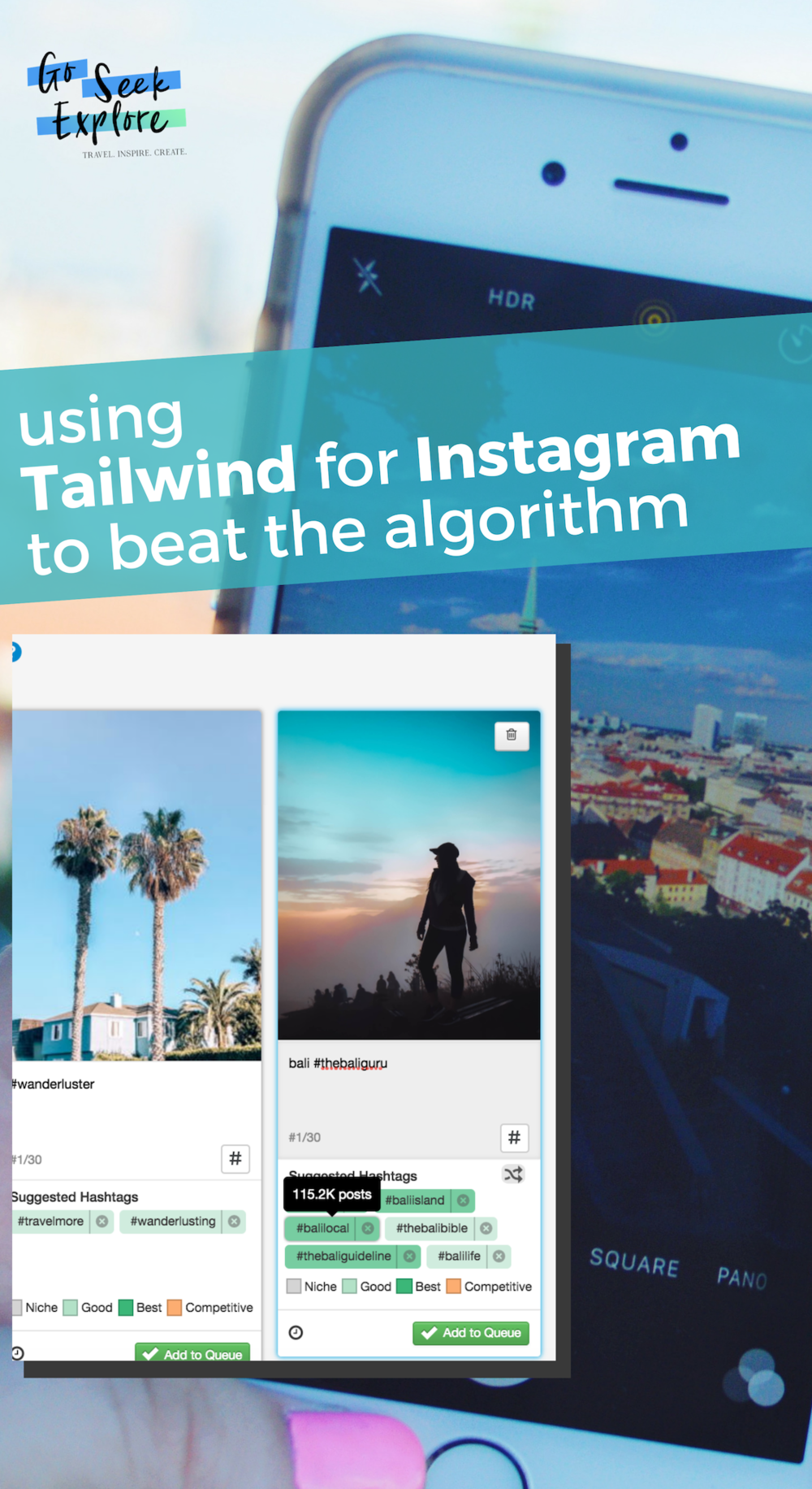 How to beat the Instagram algorithm with Tailwind's new hashtag feature tool! This tool is exactly what any blogger or business owner needs to ensure they're using the right hashtags on their posts. This review shows how it works! / goseekexplore.com