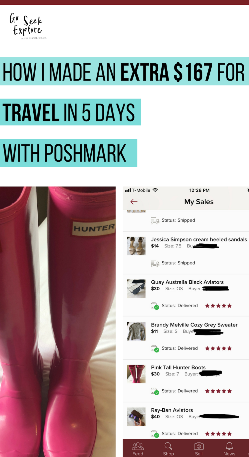 Need to make some extra cash for your next trip? Here's how I made $167 for travel in 5 days using the Poshmark app. All I did was upload old stuff from my closet and sold it through the app. Click through to see how! / goseekexplore.com
