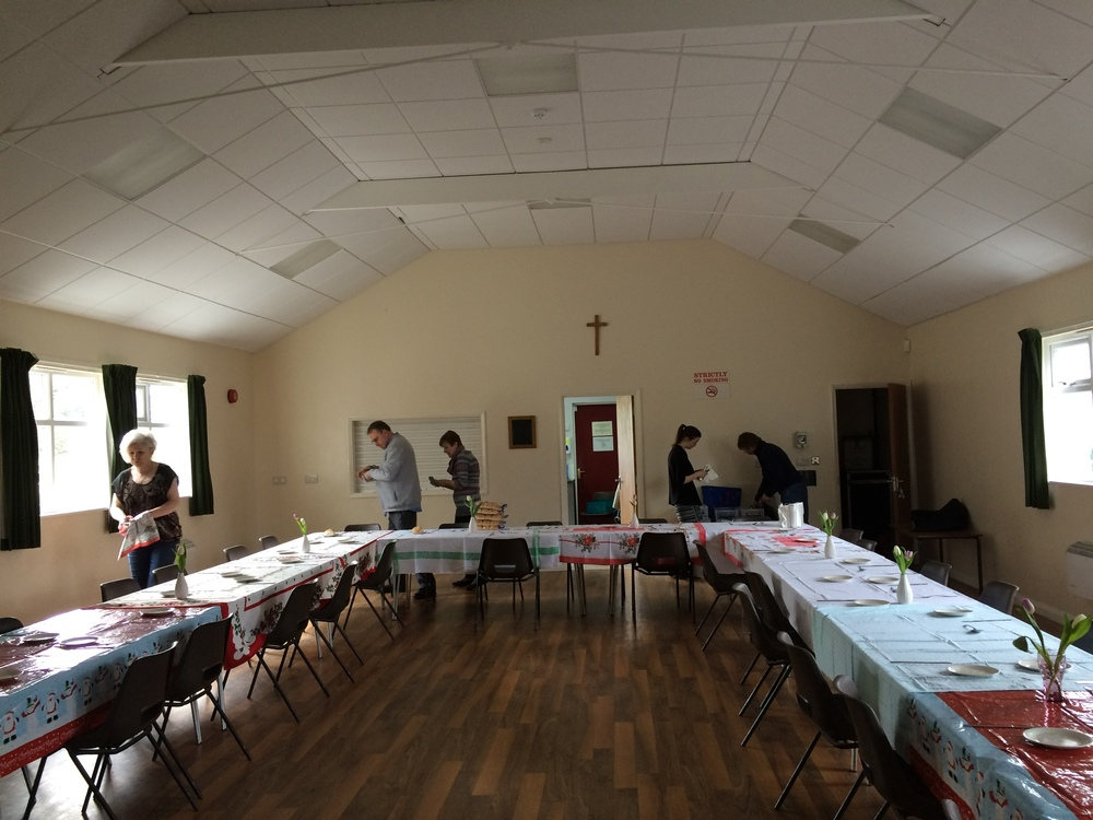 Preparing for the Singles Lunch.  25 enjoyed the Spring Lunch!