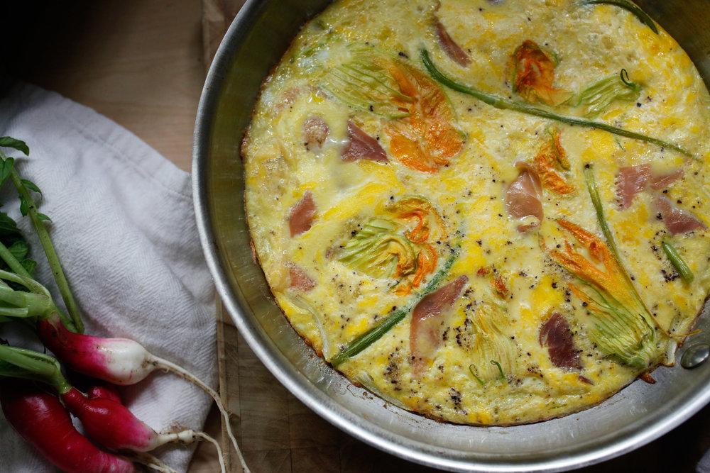 Zucchini blossom + garlic scape frittata
