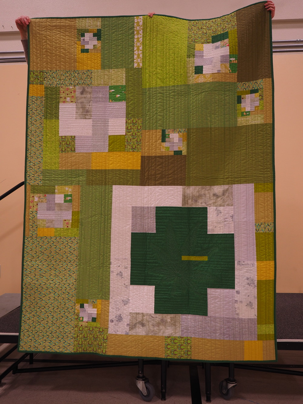 Gail Weiss   Green Cross Quilt  @gweiss23  Modern Cross Block by Susan Beal  Created to commemorate the passing of measure 91 (cannabis legalization) - Her QuiltCon Reject