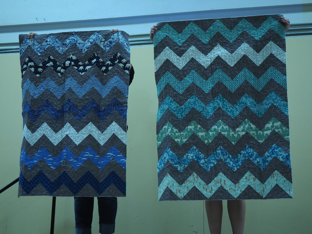 Lilly  Chevron Twins   Quilted by Nancy Stovall
