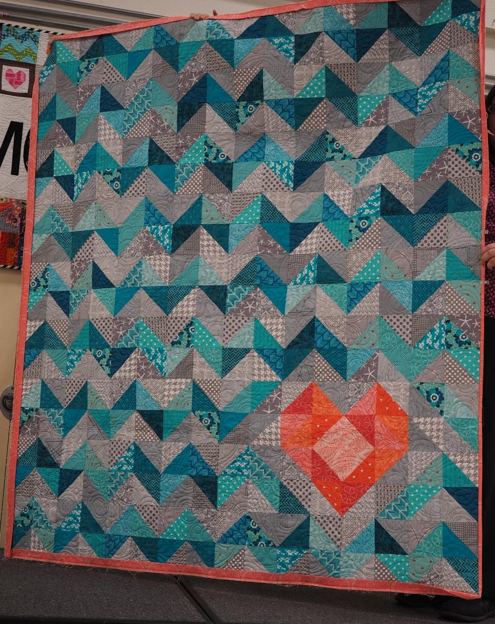 Heather Perez  I heart chevron pattern love - Mari Jorgen  Quilted by Susan Bouturll in Dallas, TX