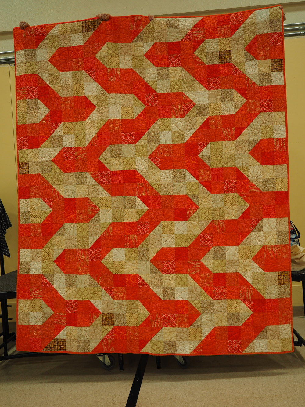 Toni Davis - Orange You Glad?  Pattern - Modern Chevron Bay Quilt  Quilted by Del-lightful Quilts   tonijosews.wordpress.com