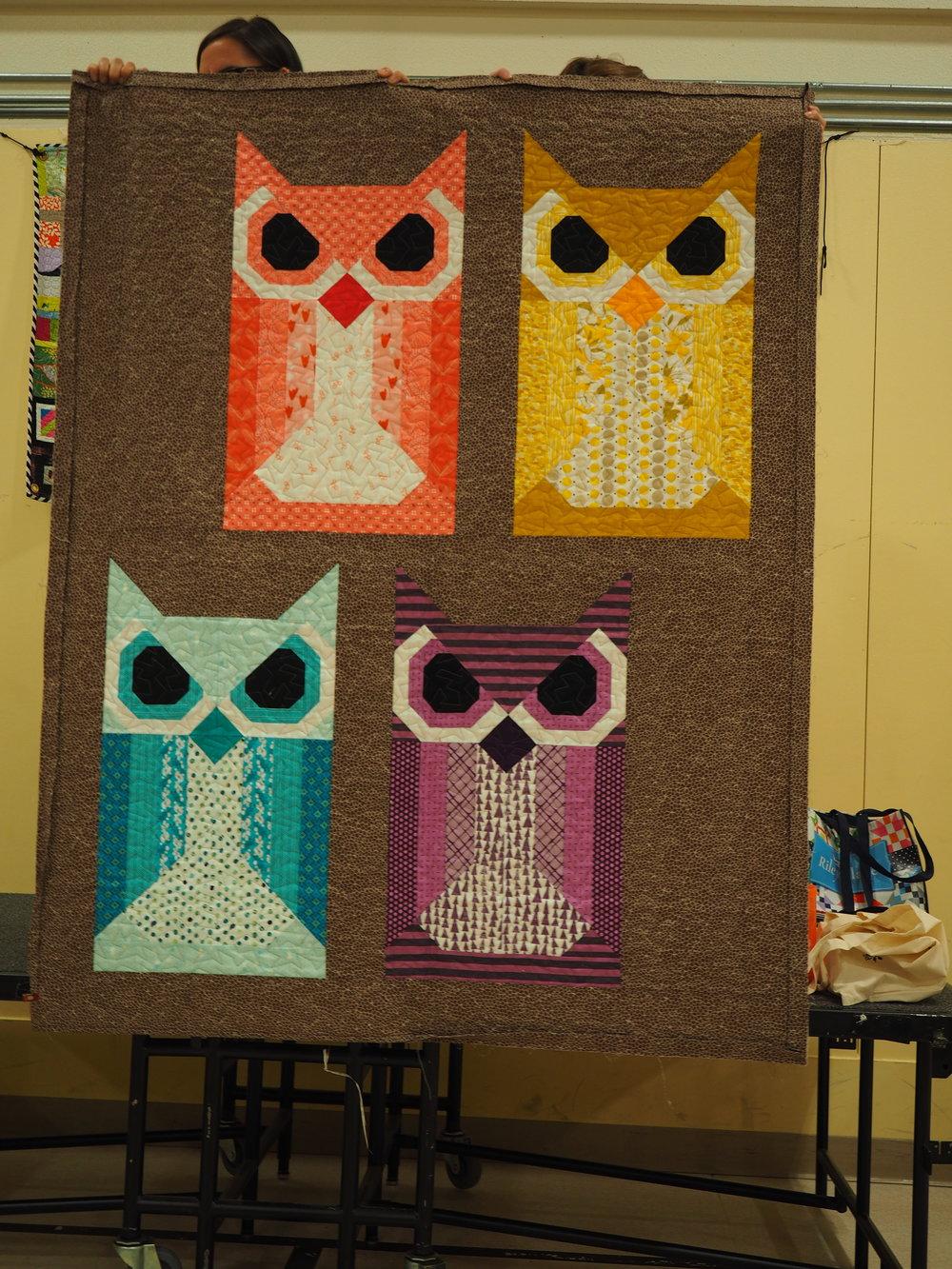 Megan Woolery  @megaroon477  - Hoot  Pattern by Elizabeth Hartman  Quilted by Susan Bootwell