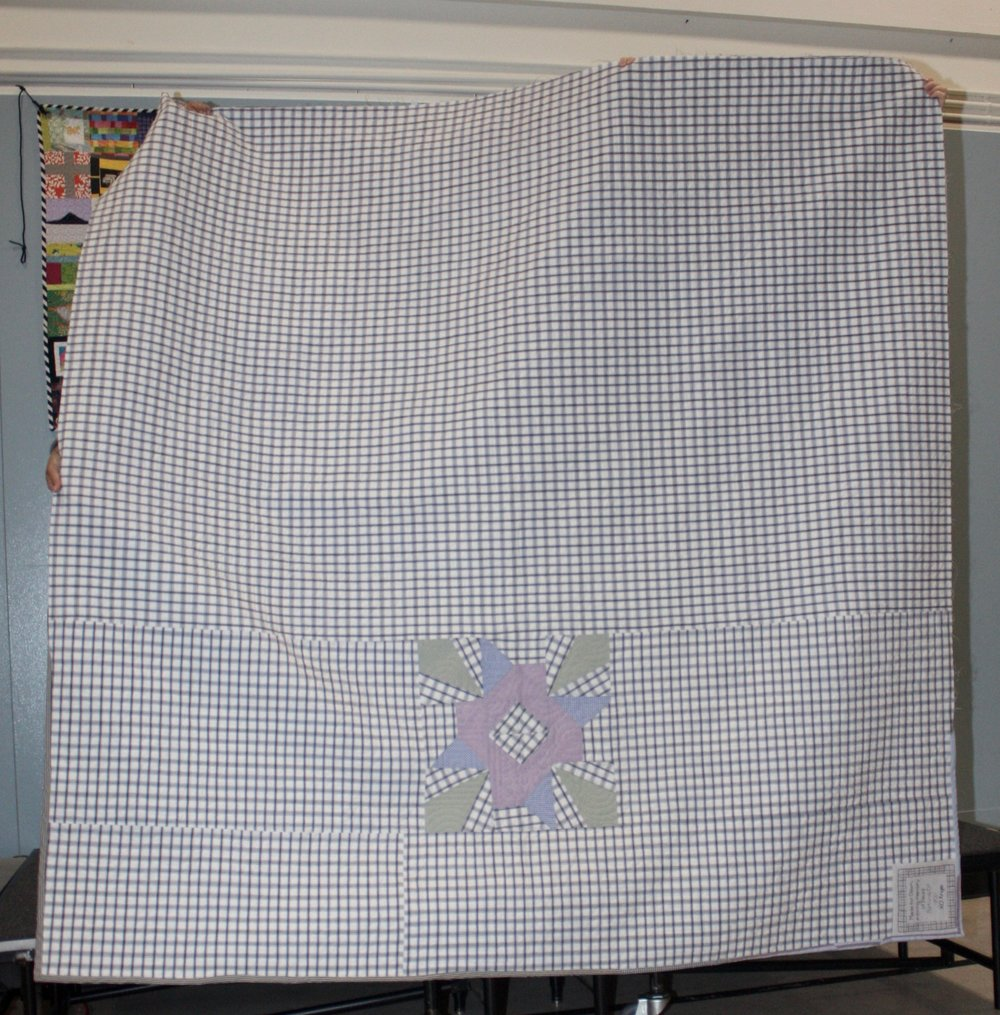 Reverse of David's Memory Quilt by Angie Reat