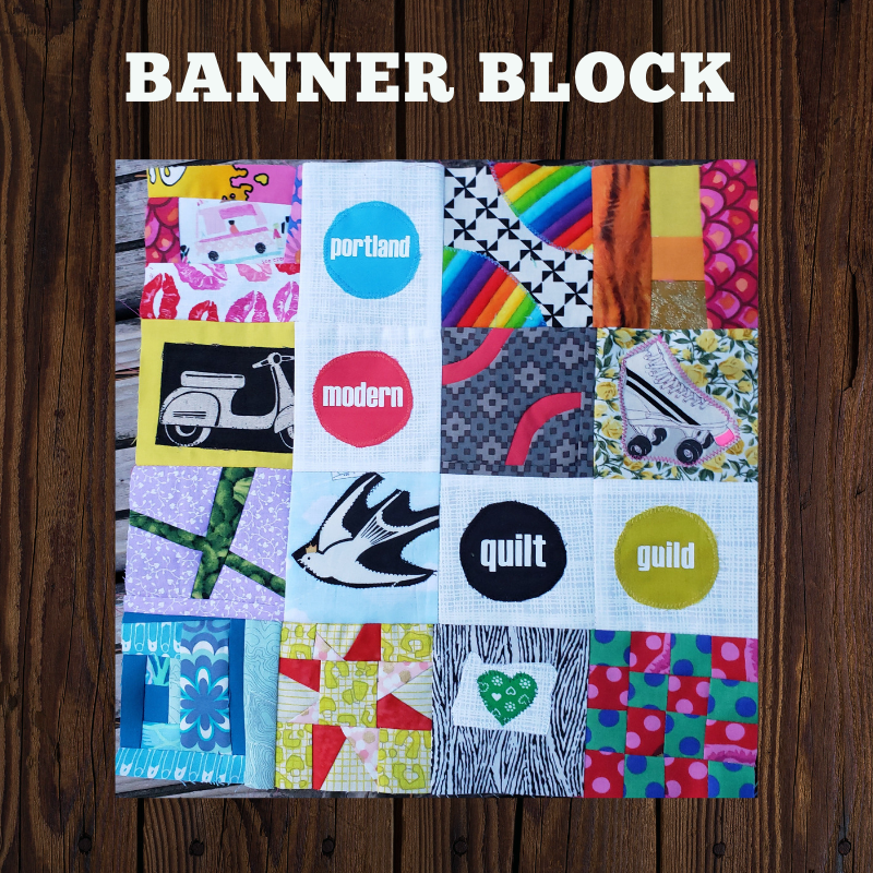 "THE BANNER BLOCK - Inspired by the PMQG banner blocks and in celebration of 10 years together we have created this center block for this quilt along. We invite you to create mini block patterns and share them, we hope to compile these inspired mini blocks into a small book for members at the end of the year, there are 2 sizes for blocks at 3'"" and 6"" finished sizes. Click on the button below to download the pattern."