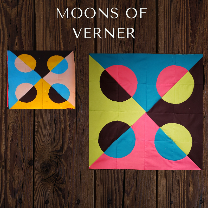"""The Moons of Verner block - Inspired by the modern artist, Verner Panton, this block can be made in a 24"""" size and a 12"""" size. Designed by Sara Flynn and shared here for the 2019 block of the month. Instructions coming soon."""