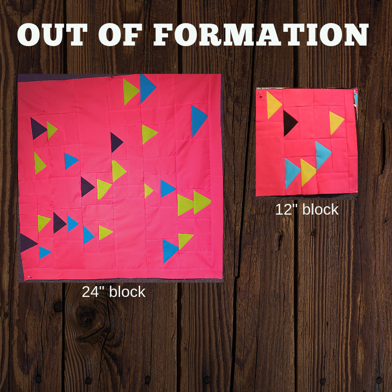 Out of Formation block - This is a modified block inspired by the original pattern created by Rebecca Severt, called 'Fish in The Sea' posted on the MQG website as the May 2018 quilt of the month. Modified instructions can be found by clicking the button below.