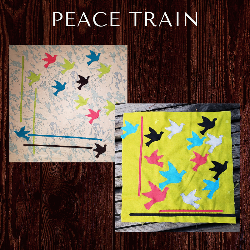 "The Peace Train block - This block is inspired by the 100 days of modern quilting as posted on the MQG website, Debbie Grifka of Esch House Quilts used machine applique to create her lovely Traffic Pattern quilt and we have modified this pattern to create two blocks that are 24"" and 12"". Instructions and modified templates coming soon."