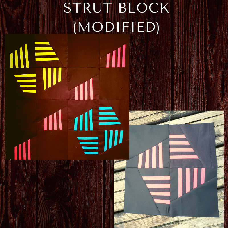 The Strut block, modified - The Strut block was originally created by Sylvia Sutters and the MQG, posted as the block study pattern for February 2017 on the MQG website. We have modified it to be smaller, dropping a stripe and changing the directions a bit. Instructions coming soon.