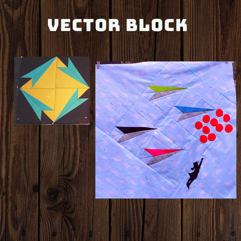 "The Vector block - This pattern was originally created by Sarah Ruiz and the MQG, as part of the block study project, March 2018. This is a paper pieced pattern that has been reduced to fit as a 12"" block. We will share our modifications for this pattern soon, the original pattern can be found on the MQG website. Click on the button below to open the pattern file with instructions and bonus paper plane pattern."