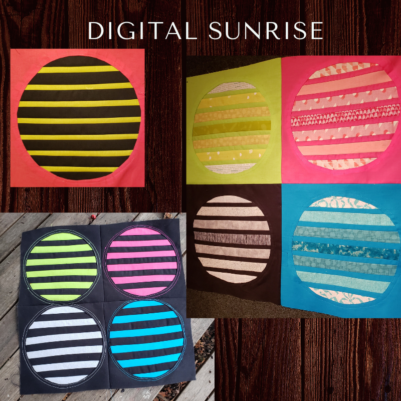 DIGITAL SUNRISE - First block, with variations of size and color. This quilt block was inspired from the Seeing Stripes, quilt of the month August 2018, designed by Christine Ricks. Click on the link to see that gorgeous quilt pattern, only current MQG members have access to the patterns on the MQG website. Insdtructions posted here for the modified versions.https://community.themodernquiltguild.com/resources/seeing-stripes-august-2018https://biteable.com/watch/digital-sunrise-alternative-options-2140305