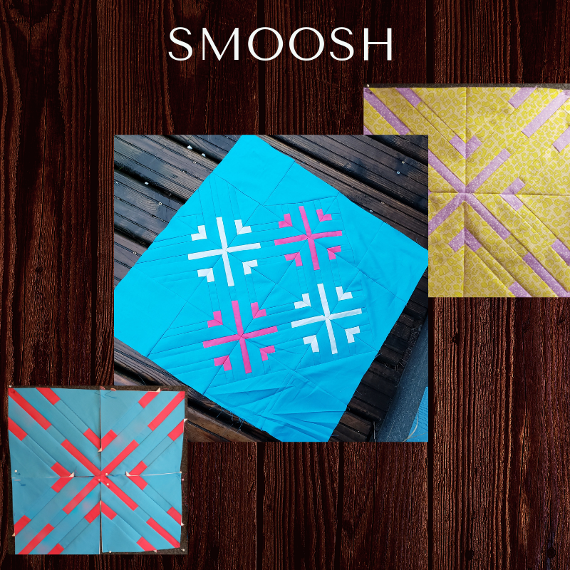 The Smoosh Block - The Smoosh block is a modified pattern originally designed by Cheryl Brickey, published on the MQG website as part of the block study project, October 2018. This is a paper pieced pattern that has been altered slightly to fit into the block of the month for our guild this year. Instructions on how to modify the original pattern coming soon.
