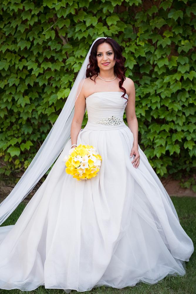 Yellow calla lily bouquet, grey wedding dress, ivy wall