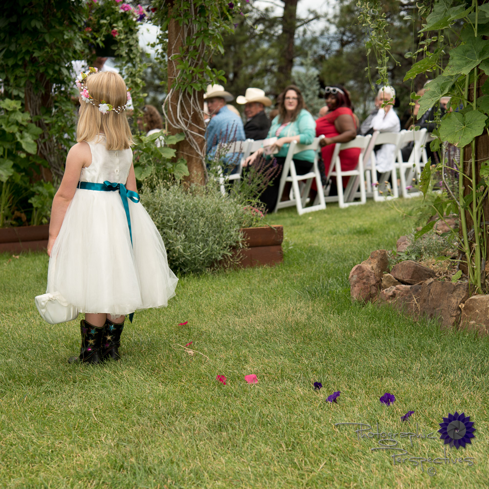 wedding Ceremony Pictures, Wedding Ceremony, flower girl, cowgir