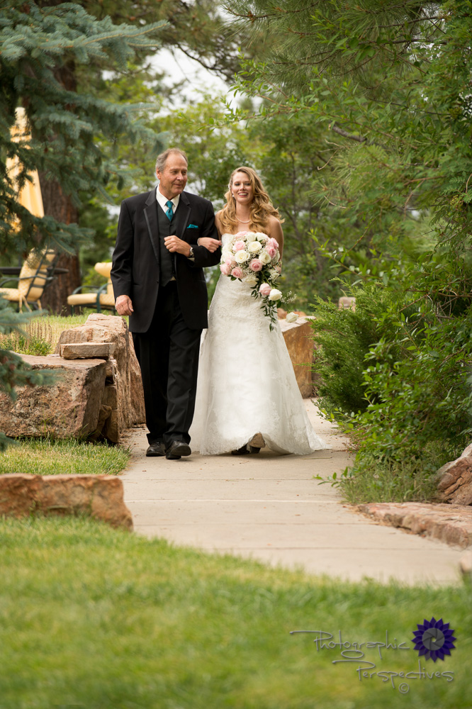 walking down the aisle, father of the bride, teal tie, pink and