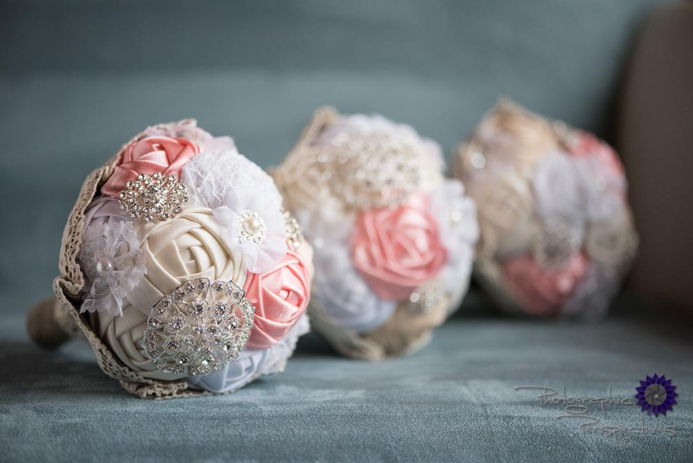 wedding details, ribbon flowers, handmade bouquet, pink, white,