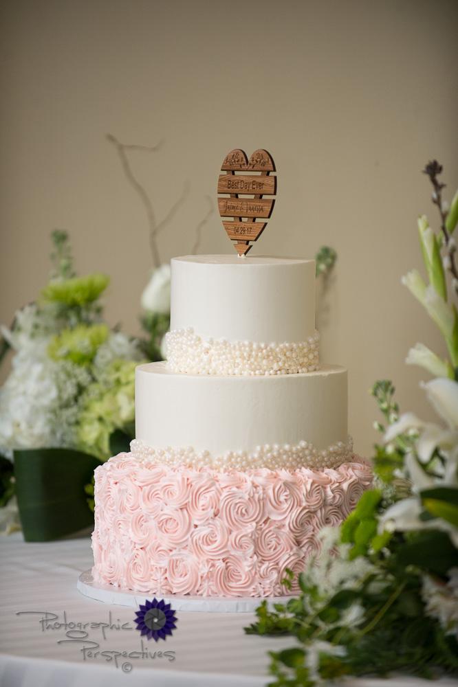 wedding details, pink frosting, custom wedding cake topper, wood